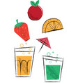 cocktail drinks and fruit children vector image vector image