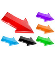 colored shiny arrows 3d icons vector image vector image