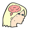 comic cartoon female head with brain symbol vector image vector image