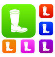 cowboy boot set color collection vector image vector image
