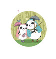 Cute cartoon bears pandas autumn theme hand