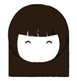 cute little japanese doll head vector image