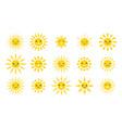 cute sun emoji cute suns smile fun weather vector image