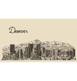 Denver skyline engraved hand drawn sketch vector image vector image