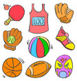 doodle object various sport collection vector image vector image