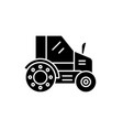 farm tractor black icon sign on isolated vector image