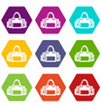 fitness bag icons set 9 vector image vector image