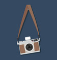 flat style vintage camera hanging vector image vector image