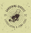 gardening service emblem with lawn mower vector image