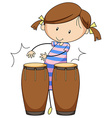 Girl and drums vector image vector image