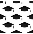 graduation cap icon seamless pattern on white vector image