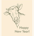 greeting card of bull simple text vector image vector image