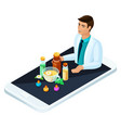 isometric concept online medicine vector image