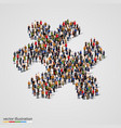 large group of people forming the puzzle shape vector image vector image