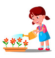 little girl watering flowers help vector image vector image