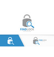 lock and loupe logo combination safe and vector image vector image