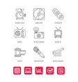 microphone video camera and photo icons vector image vector image