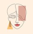 minimal woman face vector image vector image