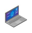 modern laptop biometric fingerprint security vector image vector image