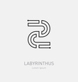 Number 2 Labyrinth logo template Line art rebus vector image vector image