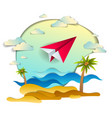 paper plane flying in cloudy sky over sea waves vector image