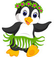 penguin cartoon dancing vector image vector image