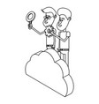 people and cloud computing black and white vector image vector image