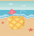 pineapple cocktail in beach design vector image