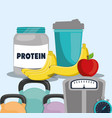 protein food fruit juice weight gym vector image