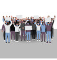 protesting people with hands up in medical face vector image vector image