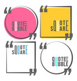 quote square and speech bubble template set vector image vector image