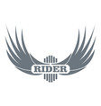 rider wing logo simple gray style vector image vector image