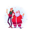 santa claus and young man with champagne vector image vector image