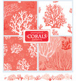 set corals seamless patterns vector image vector image