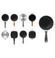 set frying pan kitchen utensil or aluminium vector image vector image