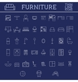 set furniture outline icons thin line design vector image