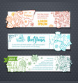 set of outlined horizontal christmas banners vector image