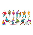 set of people winter activity wintertime concept vector image