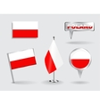 Set of Polish pin icon and map pointer flags vector image