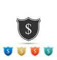 shield and dollar icon on white background vector image