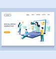 social media marketing website landing page vector image vector image
