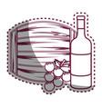 sticker line bottle wine barrel and grape vector image vector image