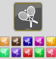 tennis icon sign Set with eleven colored buttons vector image vector image