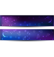 Two night banners with stars and moon vector image vector image
