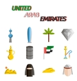 United arab emirates flat icon set vector image