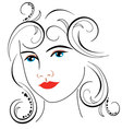 woman face drawing 7 vector image vector image