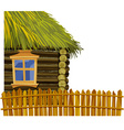 Wooden house with thatched roof and fence vector image vector image