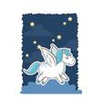 unicorn wings magic animal night background poster vector image