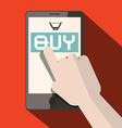 Cell Phone with Buy Title and Cart with Hand vector image