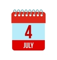 4 July Calendar Independence Day USA icon vector image vector image